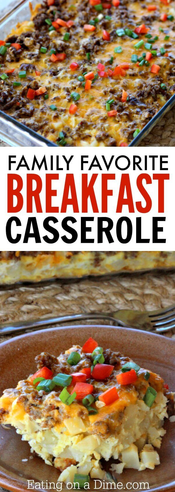 Try this Easy Sausage and Egg Breakfast Casserole Recipe today! The simple ingredients make this simple sausage breakfast casserole the best!