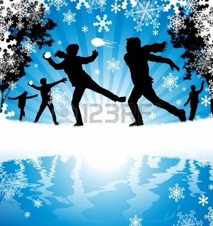 Winter sneeuwballengevecht photo