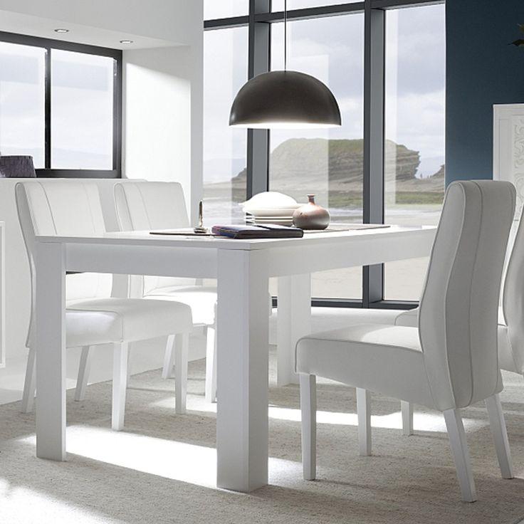 Table à manger blanc laqué mat design NEVADA