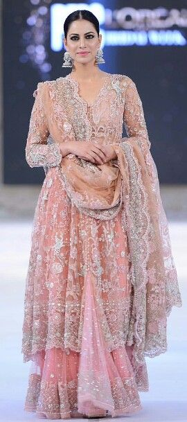 Pakistani bridal fashion | pink nikah / walima bridal lehenga dress with silver embroidery | PFDC loreal fashion week