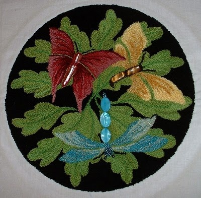 punch needle work - lovely! You can just feel the velvety softness of the leaves can't you?