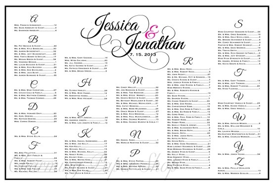 Custom flourished names on a wedding seating chart.  Let your guests know where to sit at the reception using this board/poster.