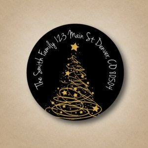 Gold Tree Black Address Labels Custom Christmas Address Labels Round Holiday Labels Personalized Return Address Label Stickers Modern