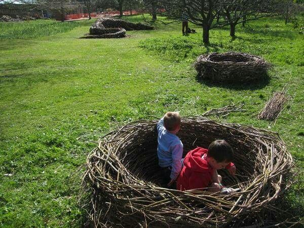 "Build ""nests"" with tree scraps...even better get the kids to help!"