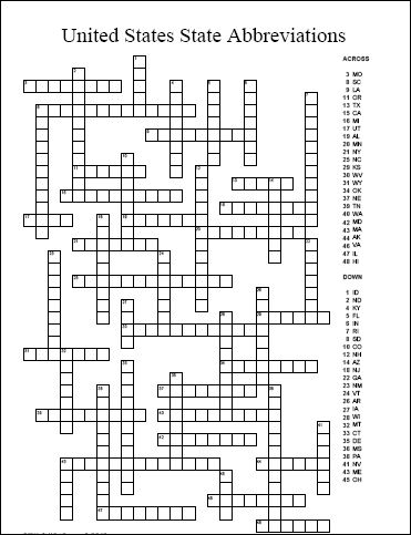 A free printable United States state abbreviations crossword puzzle that includes a puzzle and clue page as well as a solutions page.
