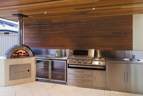 Outdoor Kitchen Designs with pizza oven, featured timber lined ceiling