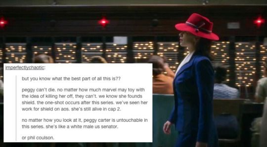 Agent Carter is the ultimate feminist TV show - it's also really entertaining. The Marvel online fandom writes about it a lot, so one Tumblr user decided to take scenes of the show and pair them with these posts. These are all the reasons you need to be watching Peggy Carter.1. Really Good Symbolism2. Clever Dialogue3. Amazing Teamwork Action Sequences4. A Hilarious Sidekick5. Peggy Carter Kicks ASS6. You Don't Have to Worry About Characters Dying7. Cute (possible) lesbians8. It's funny.