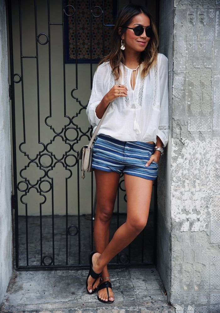 """Joie blouse,shorts and sandals Chloe """"faye"""" small shoulder bag"""