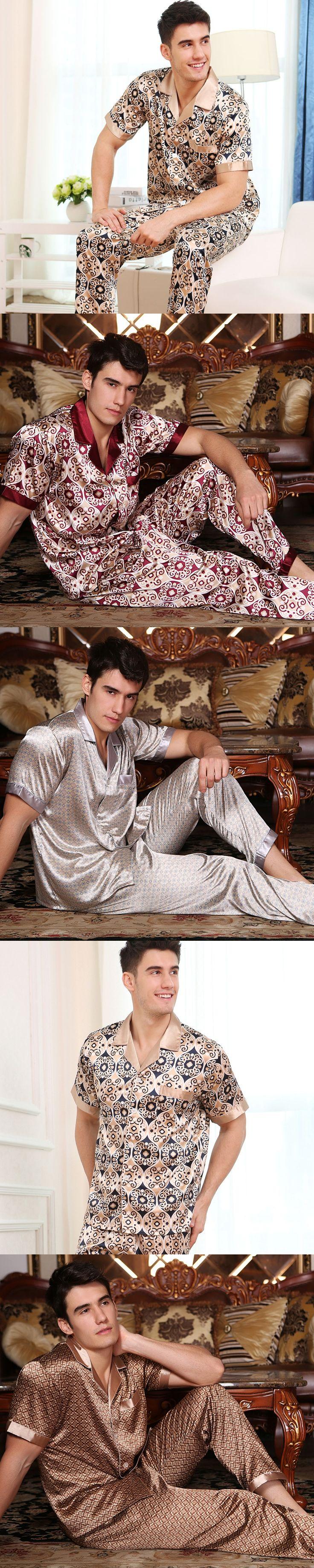 High quality Summer autumn new sexy silk pajamas men short sleeve suit  men's  silk  pijama set Adult Male Sleepwear loungewear