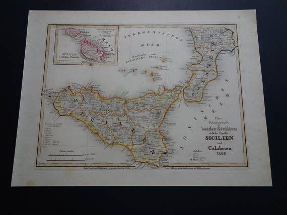 SICILY old map of Sicily and Calabria 1849 original antique