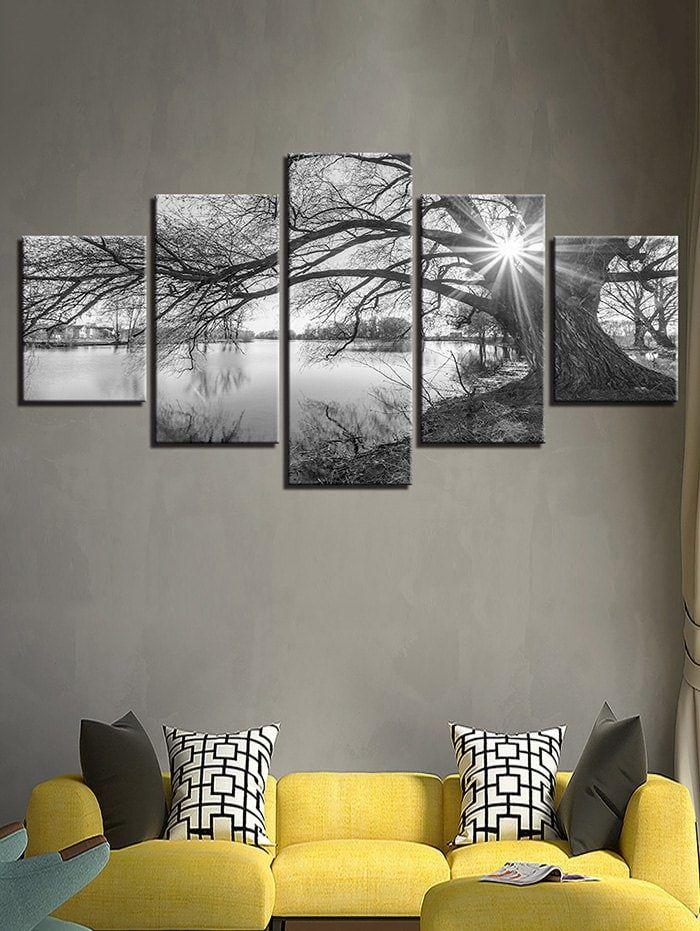 Waterside Tree Print Unframed Split Canvas Paintings Wall Art Canvas Painting Cheap Canvas Wall Art Canvas Wall Art
