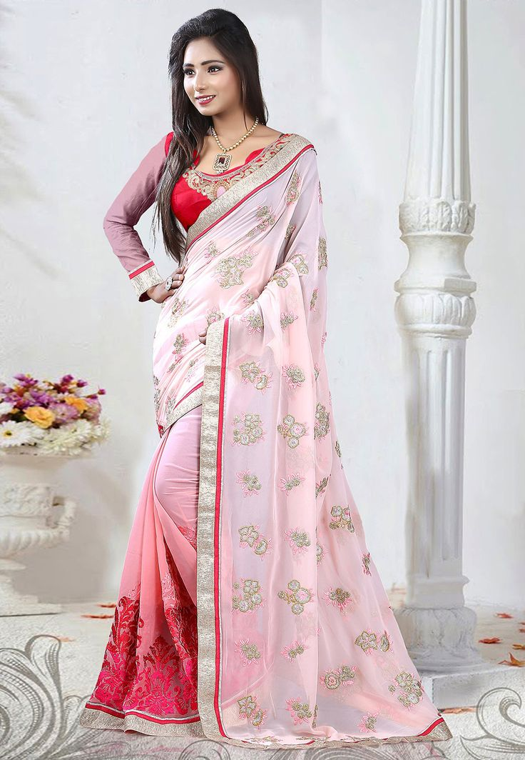 Shaded Pink Faux Georgette Saree with Blouse