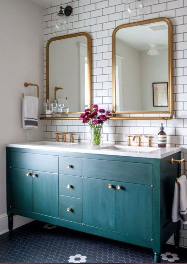 Double sink gold,teal&subway tiles
