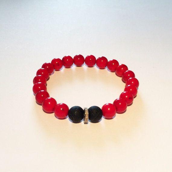 Men bracelet. RED, BLACK, DIAMOND bracelet. Red and black bracelet with diamond, red coral, black onyx and diamond bracelet