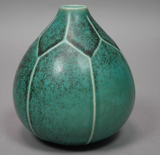 SAXBO Denmark Ceramic Pottery Vase. Teal glaze wi : Lot 5