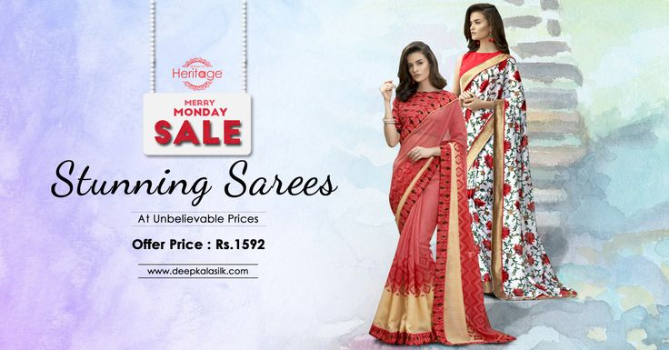 Look cool and trendy this summer in beautiful #sarees at unbelievable prices only on deepkalasilk.com. Hurry and shop during our #MerryMondaySale hours and get upto 40% off on select items.