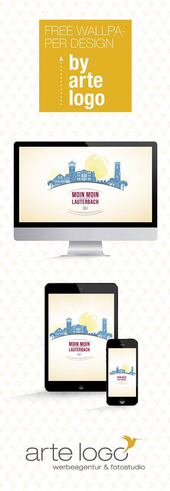 Free Wallpaper for Desktop, iPhone and iPad by arte-logo.de Free Download, Kalender 2016, selfmade, Juli, Skyline Lauterbach, Vogelsbergkreis, Schrittsteine, Ankerturm, Moin Moin, Fachwerkhaus, Hessen