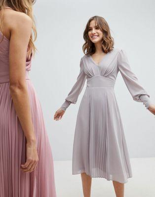 ac4a70f572 TFNC Long Sleeve Midi Bridesmaid Dress With Pleated Skirt