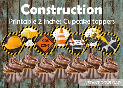 Construction Cupcake Toppers Birthday Party Supplies