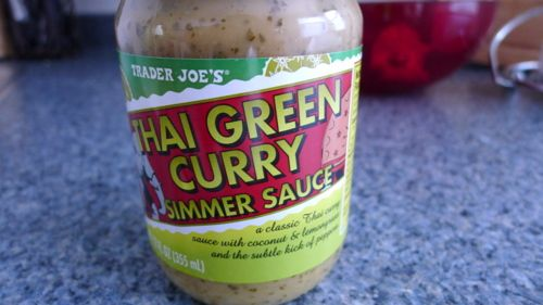 trader joes thai green curry simmer sauce is soooo good! and easy! i love it on basmati rice! even shon cooks dinner with it, which is an added bonus :)