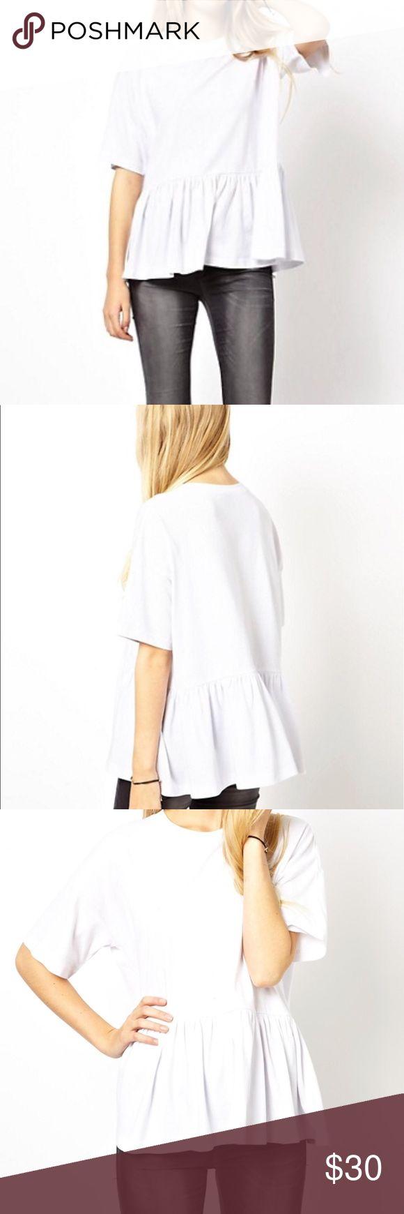 "ASOS 14 Plus Size Oversized Smock T-Shirt US 14 ASOS 14 Plus Size Oversized Smock T-Shirt US 14. Perfect condition. Never worn. Measures approx 25.5"" long  7"" sleeve  28"" bust  26.5"" waist  laying flat Asos Tops"
