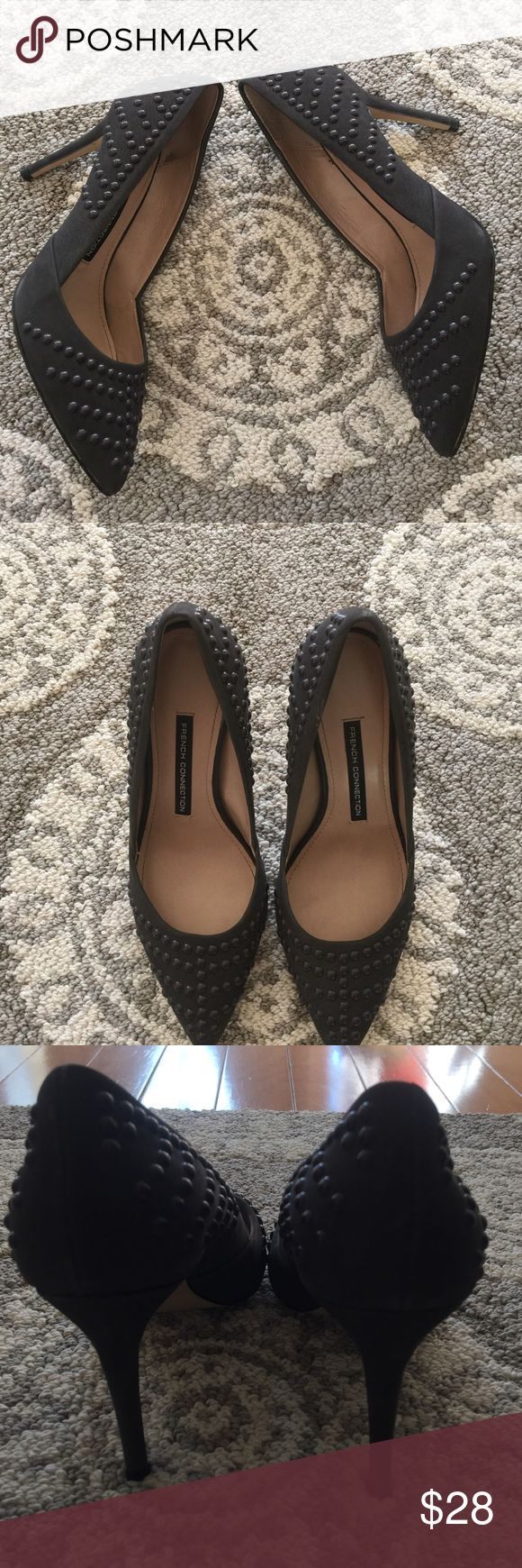 French Connection Gray beaded Heels size 6. Beautiful beaded like new gray heels 3in. French Connection Shoes Heels