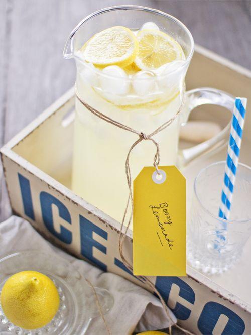 Boozy Lemonade.  3 lemons, juiced, 2 or 3 shots vodka, 2 or 3 shots whisky (I used Jack Daniels), 1 shot Cointreau, Sugar syrup, to taste (recipe here), Ice, lemonade and lemon slices, to serve