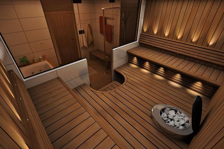 Sun Sauna Classic-lauteet ja lasiseinä