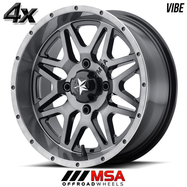 4 MSA VIBE 14x7 4x137.00 Gray OFST:0mm 14 Inch Rims 14X7 Wheels