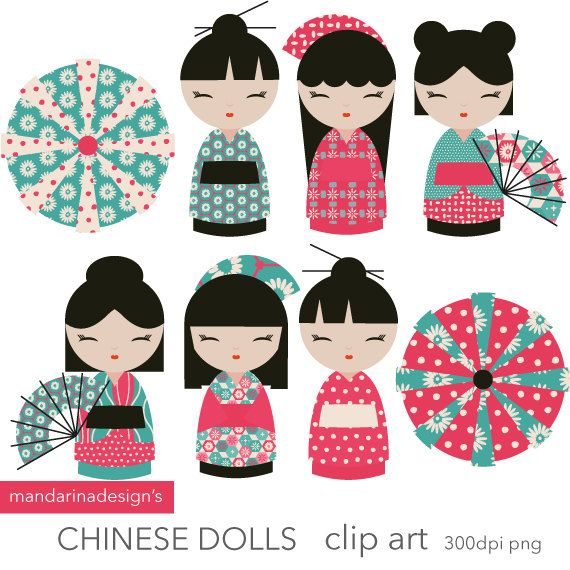 Kokeshi poupées clipart - Webdesign, scrapbooking, fabrication de carte, artisanat de poupées chinoises - clipart téléchargement instantané - livre