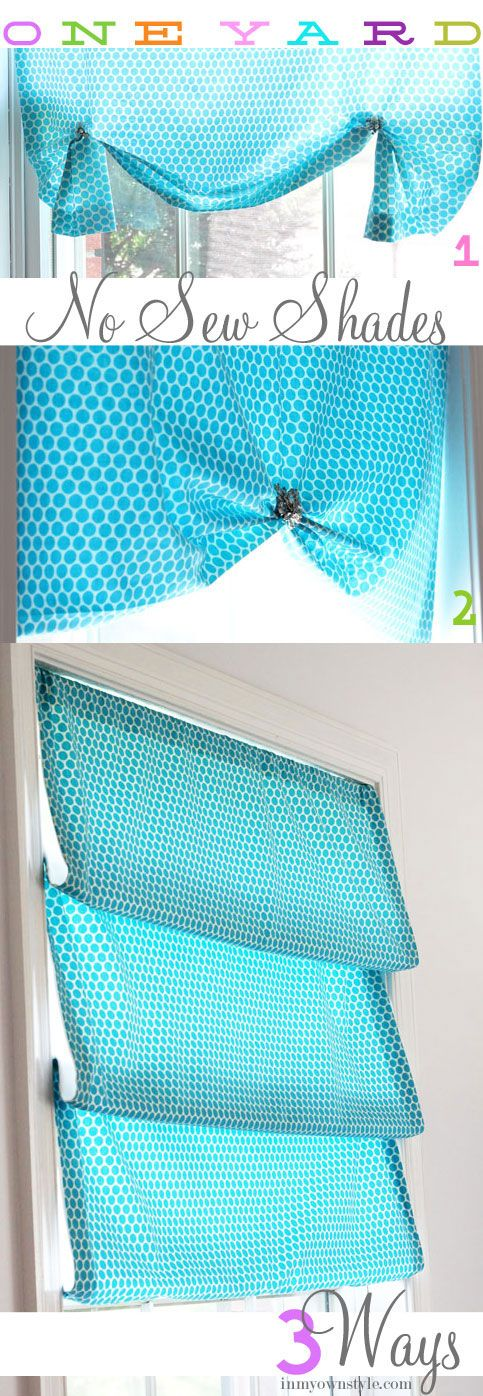 One-Yard-No-Sew-Window-Shade...would like to do this to the window upstairs in the bonus room: No Sew Curtain, Sewing Curtain, One Yard No Sew Window Shade, Yard Shade, Window Treatments, Family Room, Bathroom Window, Laundry Room