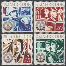 GDR 25th anniversary stamps