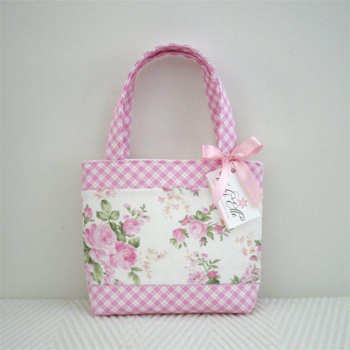 Mini Tote Bag - Girls Bag - Pink Floral