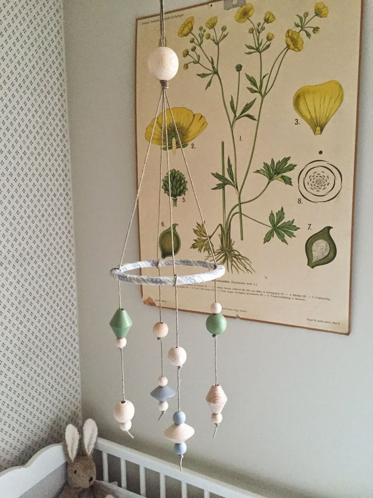 Diy home made crib mobile of wooden beads from the craft for Homemade crib mobile
