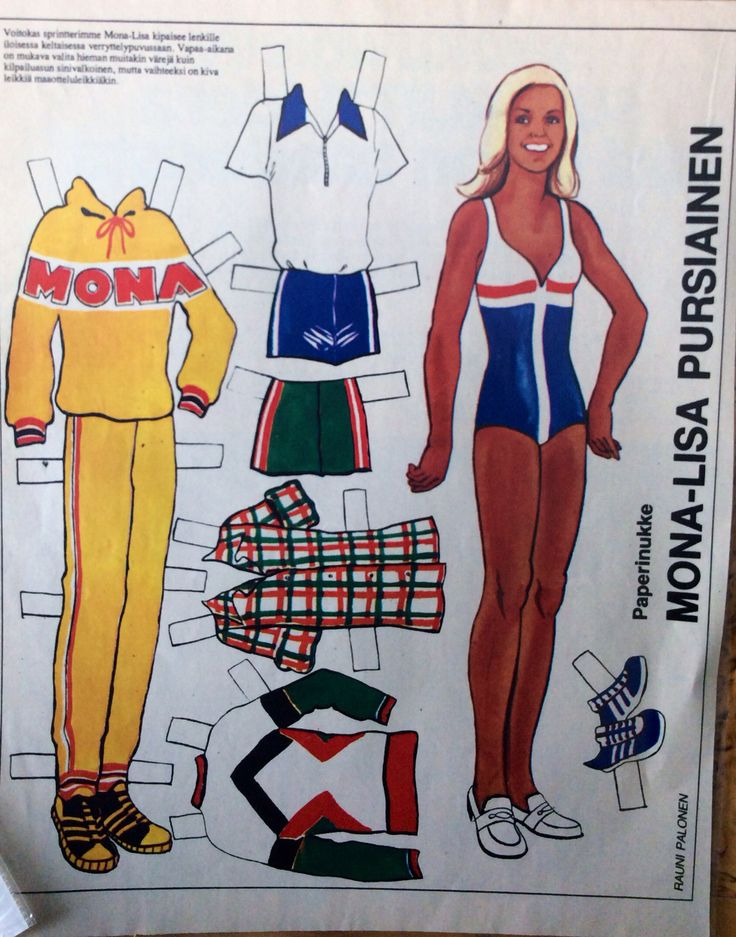 Paper doll Mona-Lusa Pursiainen 1970's
