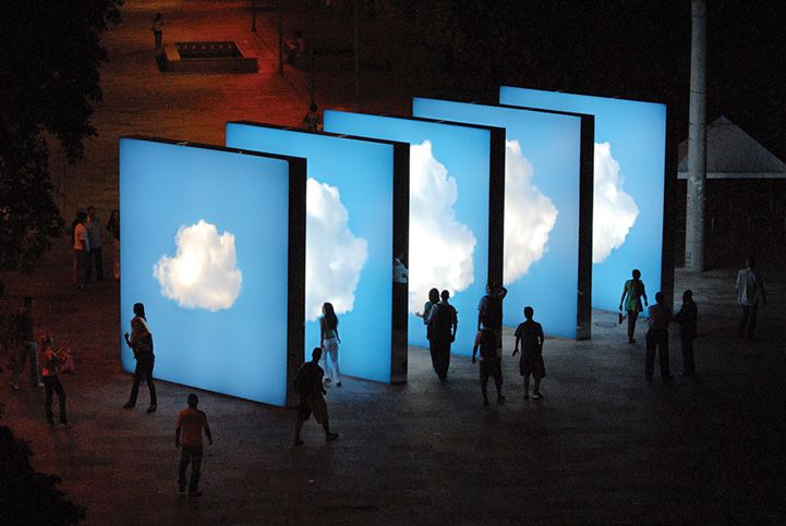 Take a walk through the clouds in this installation by multimedia artist Eduardo Coimbra...