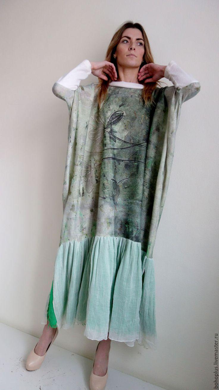 """Купить Платье в стиле бохо """"Дания9"""" - зеленый, цветочный, платье, теплое платье"""