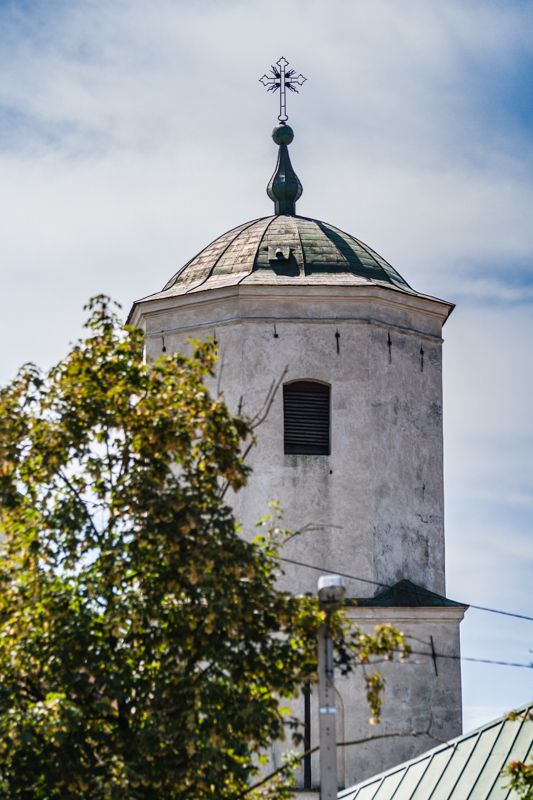 The tower of the parish church of the Assumption of the Blessed Virgin Mary, erected in XIV century, Ilza, Poland
