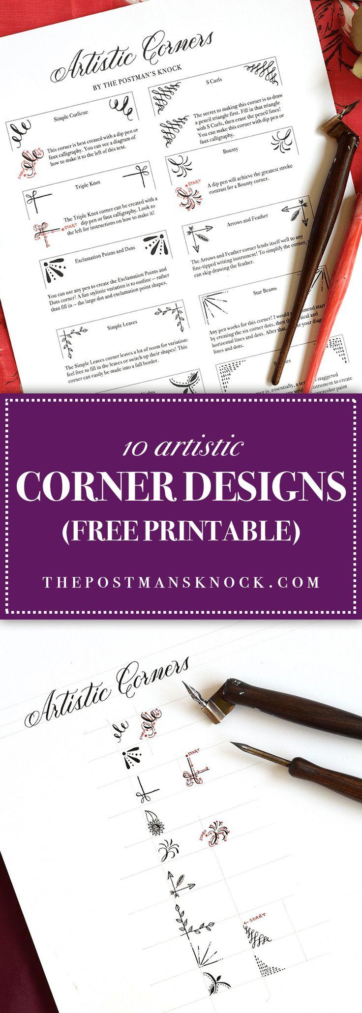 10 Artistic Corner Designs Includes Free Printable