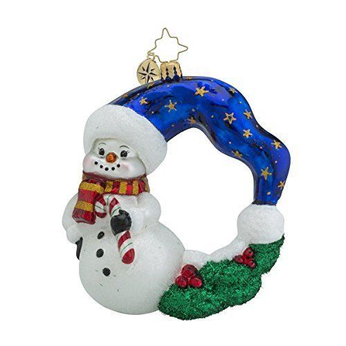 Christopher-Radko-Cool-Chaplet-Wreaths-amp-Warmth-Snowman-Christmas-Ornament