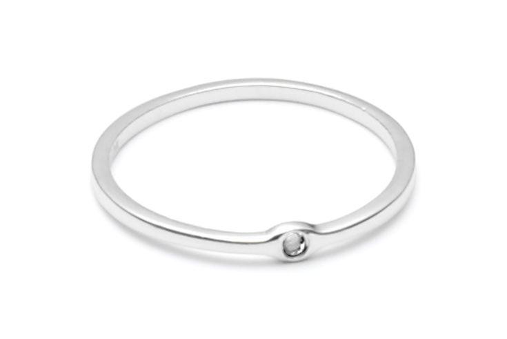raw diamond silver ring