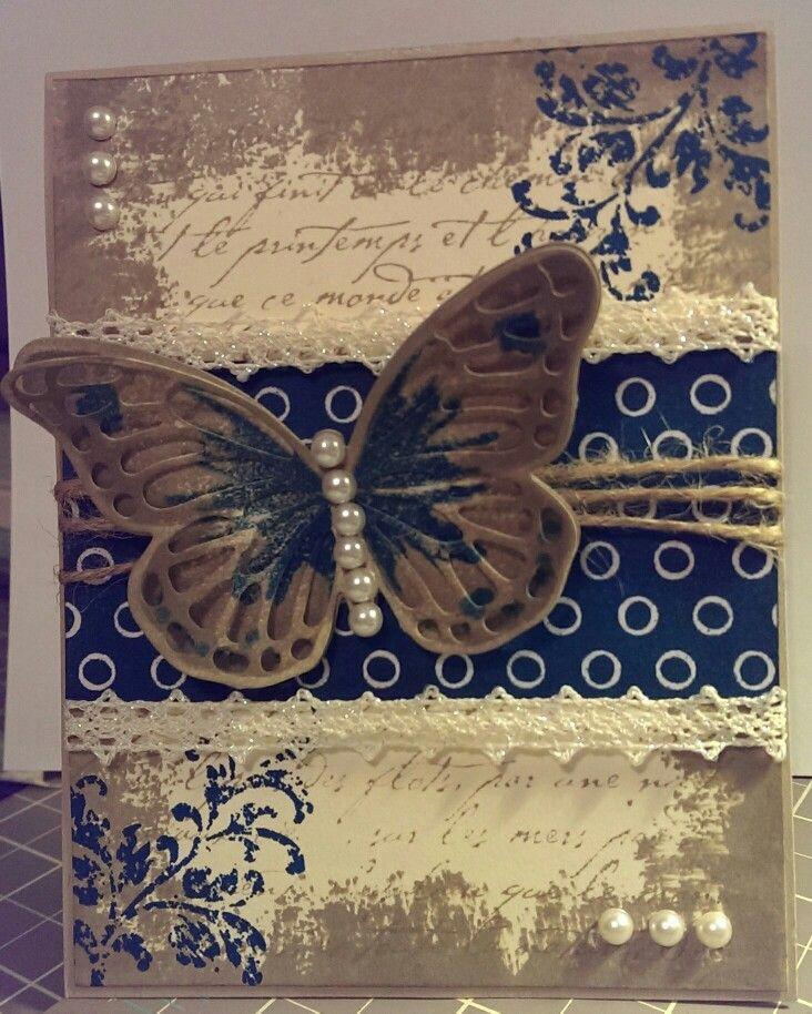 Watercolor wings, butterflies thinlits, french script stamp, timeless textures, pearls, twine, crumb cake, island indigo, spatkle lace, irresistibly floral dsp