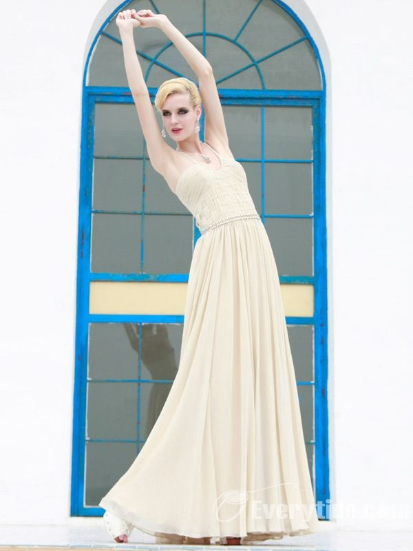 Wholesale Elegant A Line Halter Floor Length Chiffon Evening Dress with Fine Woven Workmanship$159.99