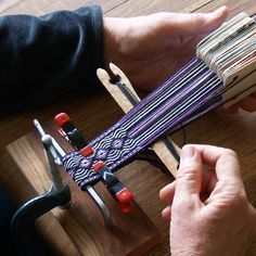 Card Weaving Loom Instructions how to set up a simple loom with g clamps, a pencil and a chair. Links to patterns