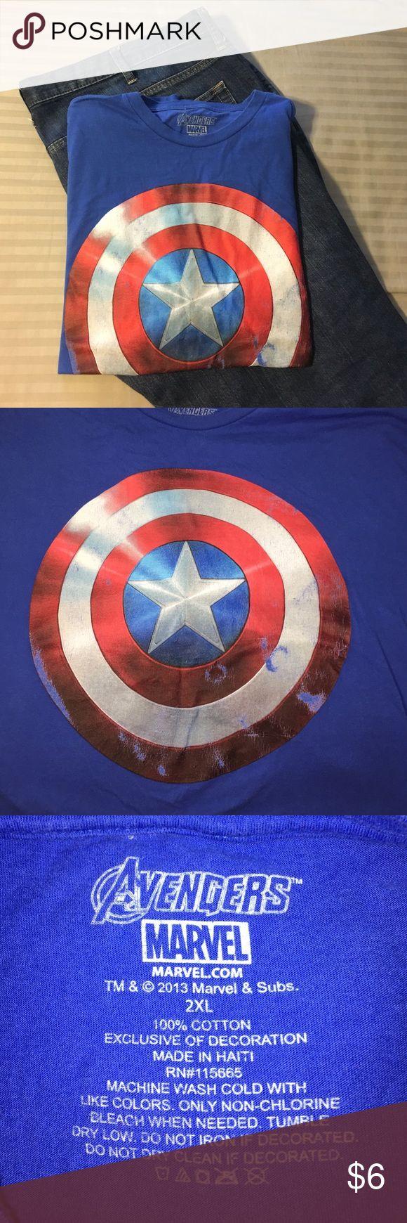 Captain American tshirt Blue tshirt with distressed Captain America shield. 100% cotton. 2XL. Marvel Shirts Tees - Short Sleeve