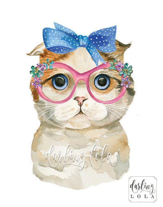 Impresión de acuarela de gato – Gato Scottish Fold – Gato retro – Gato vintage – Arte de gato – Arte animal – Pintura de gato