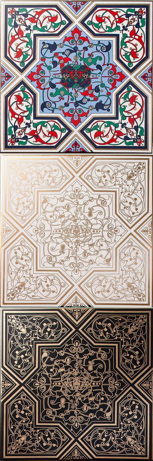 "These Arabesque Jamiliah Tiles take on an ornamental design style using interweaving floral motifs inspired by nature, with rich colourways and liquid gold adornment for the ultimate luxury finish.  These stunning elegant tiles will add style and personality into any interior projects.  Jamiliah means ""Beautiful""."