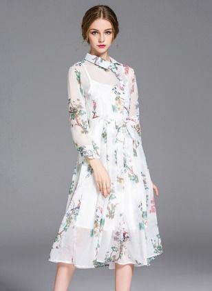 Midi jurken met lange mouwen