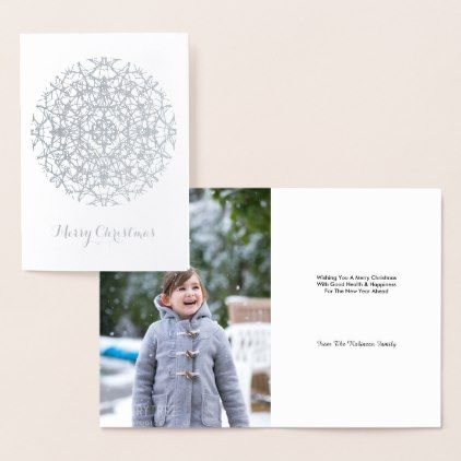 Pretty  Silver Snowflake  Merry Christmas Photo Foil Card - Xmas ChristmasEve Christmas Eve Christmas merry xmas family kids gifts holidays Santa