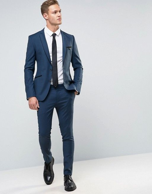 ASOS Super Skinny Suit In Navy With Piping